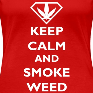 Keep Calm and Smoke Weed T-skjorter - Premium T-skjorte for kvinner