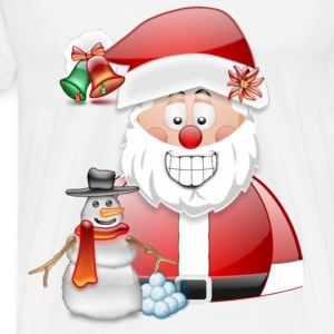 Christmas Scene Father Christmas & Snowman - Men's Premium T-Shirt