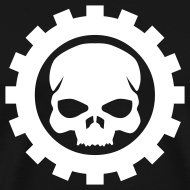 Motiv ~ Sort Herre T-shirt med sort Skull logo