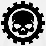 Motiv ~ Hvid Herre T-shirt med sort Skull logo