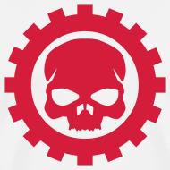 Motiv ~ Hvid Herre T-shirt med rødt Skull logo