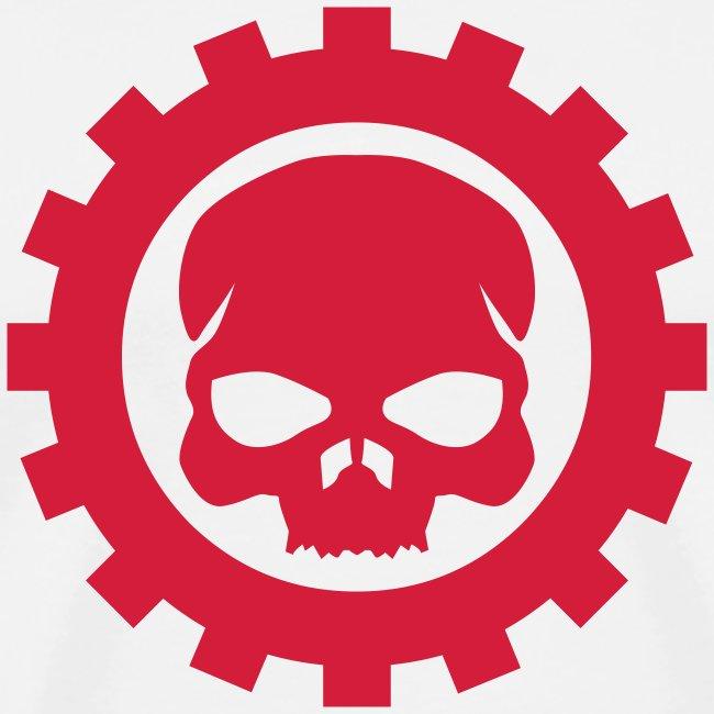 Hvid Herre T-shirt med rødt Skull logo