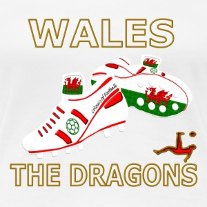 wales football boots white red gold T-Shirts - Women's Premium T-Shirt