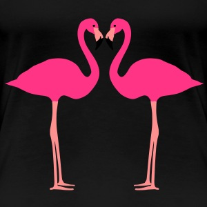 Flamingo, Flamingos, Flamingoes and Heart - Women's Premium T-Shirt