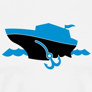 a cruise boat and anchor on the ocean waves T-Shirts - Men's Premium T-Shirt