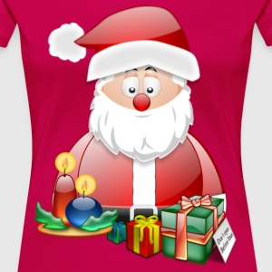 Father Christmas With Presents Candles Santa Chris - Women's Premium T-Shirt