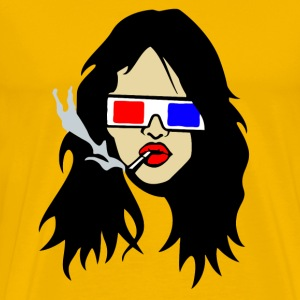 Urban Electro 3D Designs: Smoking Women 3D Shutter Brille electro Urban Artwork Designs T-Shirts - Männer Premium T-Shirt