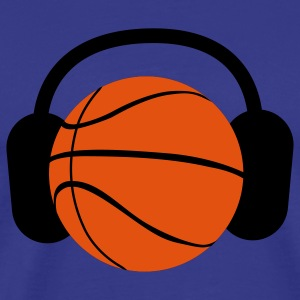 a basketball with headphones music T-Shirts - Men's Premium T-Shirt