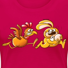 Easter Bunny Stealing an Egg from a Furious Hen T-Shirts