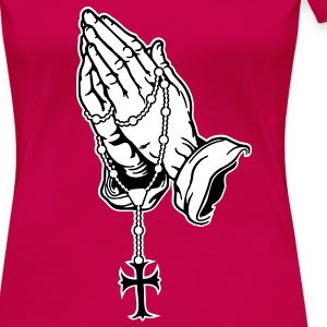 Praying Hands with Rosenkranz Digital Direct - Women's Premium T-Shirt