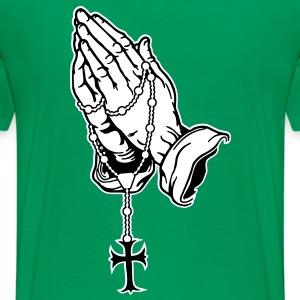 Praying Hands mit Rosenkranz T-shirts - Mannen Premium T-shirt