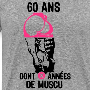 60 ans musculation bodybuilding anniver Tee shirts - T-shirt Premium Homme