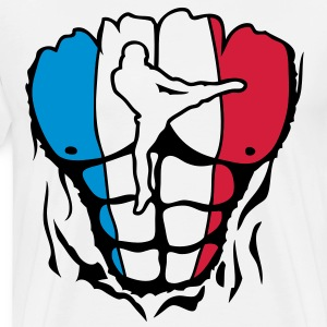 kickboxing france corps muscle drapeau Tee shirts - T-shirt Premium Homme