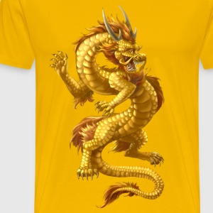 golden chinese dragon - Herre premium T-shirt