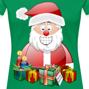 Father Christmas Santa St Nick with candles presents - Women's Premium T-Shirt