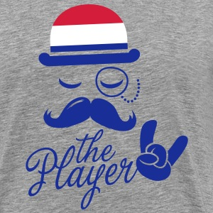 Netherlands retro gentleman sports player rock | olympics | football | Championship | Moustache | Flag European T-Shirts - Men's Premium T-Shirt