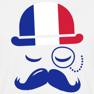 France fashionable retro iconic gentleman with flag | sports | football | Moustache Koszulki - Koszulka męska