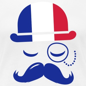 France fashionable retro iconic gentleman with flag | sports | olympics | football | Championship | Moustache T-Shirts - Women's Premium T-Shirt