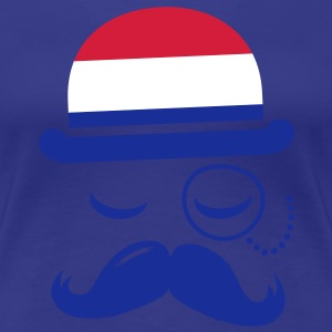 Holland fashionable retro iconic gentleman with flag sports | football | Championship | Moustache |  T-shirts - Premium-T-shirt dam