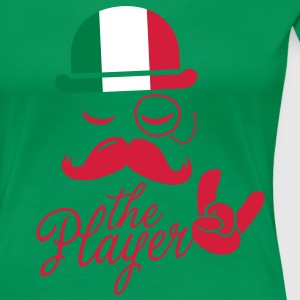 Italy retro gentleman sports player rock | olympics | football | Championship | Moustache | Flag European T-Shirts - Women's Premium T-Shirt