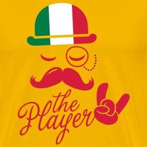 Italy retro gentleman sports player rock | football | Moustache | Flag European T-shirts - Premium-T-shirt herr