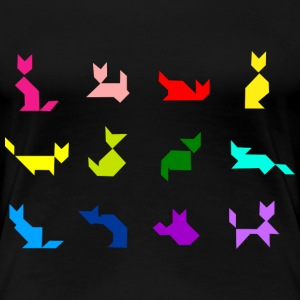 tangram_cat colors T-shirts - Dame premium T-shirt