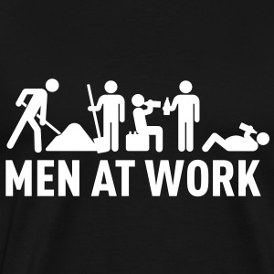 men at work - construction area - worker hard working T-shirts - Mannen Premium T-shirt