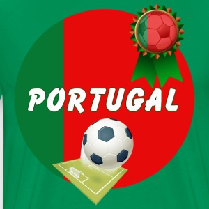 Portugal Football Team Supporter Rosette Ball & Pitch  - Men's Premium T-Shirt