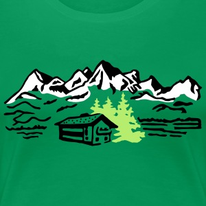 Alm Hut hiking mountains  T-Shirts - Women's Premium T-Shirt