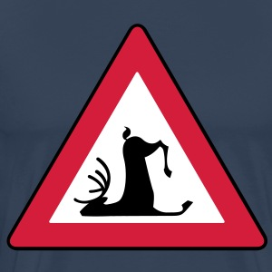 Stumbling Wildlife (Deer road sign) - Mannen Premium T-shirt