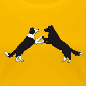 dog dancing pixel Border Collies T-shirts - Dame premium T-shirt