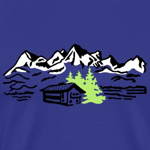 Alm Hut hiking mountains  T-Shirts - Men's Premium T-Shirt
