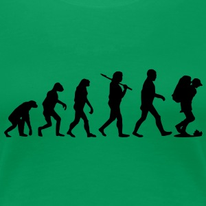 evolution_of_backpacking2 T-Shirts - Frauen Premium T-Shirt