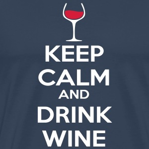 Keep Calm and drink wine T-shirts - Herre premium T-shirt