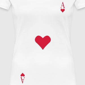 Ace of Hearts på brystet  T-shirts - Dame premium T-shirt