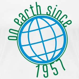 Birthday Design - (thin) on earth since 1957 (dk) T-shirts - Dame premium T-shirt