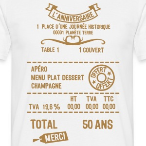 50 ans addition note resto restaur fact Tee shirts - T-shirt Homme