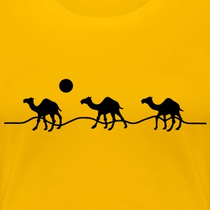 3 camels in the desert with sun T-Shirts - Women's Premium T-Shirt