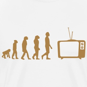Evolution TV, TV, bank, bank, flat screen TV, buis T-shirts - Mannen Premium T-shirt