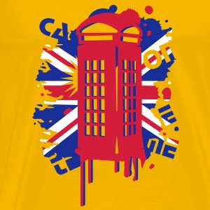 red telephone box with a British flag T-Shirts - Men's Premium T-Shirt