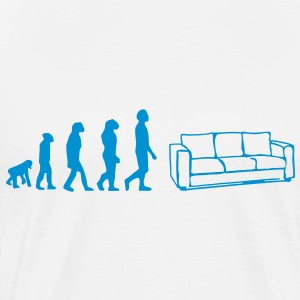 evoulution man, Geboren om te chillen, bank, sofa, divan, liegen, bank, bed, evolutie, T-shirts - Mannen Premium T-shirt