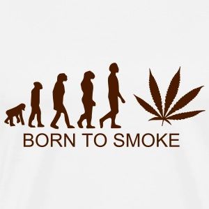 Born to smoke, Evolution ganja, Jamaica, cannabis, joint, dowel, grass, reggae, hemp T-shirts - Men's Premium T-Shirt