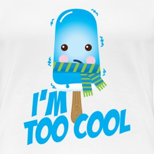 Comic too cool ice cream vintage character with scarf for hot sunny summer or freezing cold winter snow weather t-shirts T-Shirts - Women's Premium T-Shirt