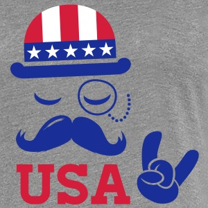I love heart fashionable American vintage Sir with moustache USA flag bowler for sports championship pride election vote America t-shirts T-Shirts - Women's Premium T-Shirt