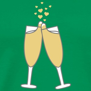 champagne_with_hearts T-shirts - Herre premium T-shirt