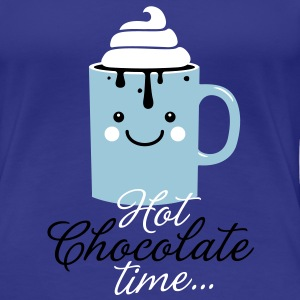 Funny cute mug with i love hot chocolate with sweet cream time slogan in cold snow freezing fall winter t-shirts for geek chic, trendy girls, gift friend christmas mothersday valentine's day T-Shirts - Women's Premium T-Shirt