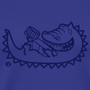 Krokodil mit Zahnbürste - Alligator with Toothbrush T-shirts - Herre premium T-shirt
