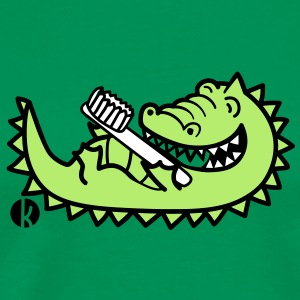 Krokodil mit Zahnbürste - Crocodile with Toothbrush T-shirts - Herre premium T-shirt