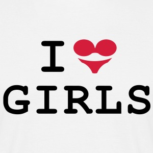 T-Shirt: I love girls (BH + Slip = Herz) - Männer T-Shirt