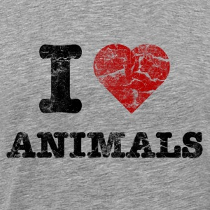 i_love_animals_vintage T-shirts - Mannen Premium T-shirt